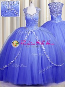 Glorious Ball Gowns Sleeveless Blue 15 Quinceanera Dress Brush Train Lace Up