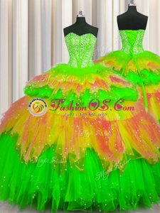 Superior Bling-bling Visible Boning Sweetheart Sleeveless Tulle 15 Quinceanera Dress Beading and Ruffles and Ruffled Layers and Sequins Lace Up