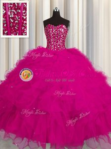 Spectacular Visible Boning Fuchsia Sleeveless Beading and Ruffles and Sequins Floor Length Quinceanera Gowns