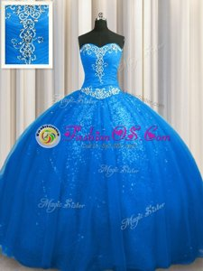 Adorable Sequined Blue Lace Up Quinceanera Gown Beading and Appliques Sleeveless With Train Court Train