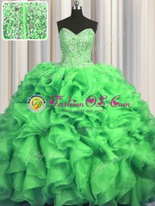 Visible Boning Bling-bling Lace Up Sweetheart Beading and Ruffles Quince Ball Gowns Organza Sleeveless Sweep Train