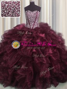 Fashionable Visible Boning Bling-bling With Train Ball Gowns Sleeveless Burgundy Quinceanera Dresses Brush Train Lace Up