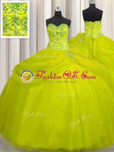 Really Puffy Yellow Green Lace Up Sweetheart Beading Quinceanera Gown Tulle Sleeveless