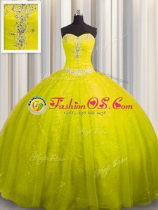 Sweetheart Sleeveless Quinceanera Gown Court Train Beading and Appliques Yellow Tulle and Sequined