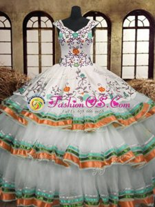 High Quality Sleeveless Lace Up Floor Length Embroidery and Ruffled Layers Ball Gown Prom Dress