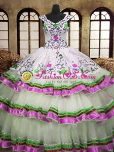 Exceptional Embroidery Ruffled Layers A-line Vestidos de Quinceanera Multi-color V-neck Organza Sleeveless Floor Length Lace Up