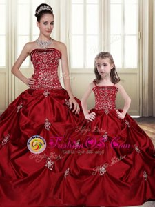 Popular Wine Red Strapless Neckline Embroidery and Pick Ups Sweet 16 Quinceanera Dress Sleeveless Lace Up