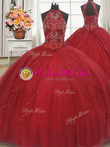 Halter Top Lace Up 15 Quinceanera Dress Red and In for Military Ball and Sweet 16 and Quinceanera with Beading and Appliques Court Train