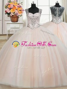 See Through Back Zipper Up Straps Cap Sleeves Quinceanera Gowns Floor Length Beading Peach Tulle