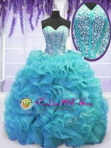 Exquisite Sweetheart Sleeveless Sweet 16 Dress Sweep Train Beading and Ruffles Aqua Blue Organza