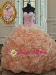 Peach Quince Ball Gowns Organza Sweep Train Sleeveless Beading and Pick Ups