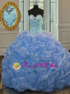 Baby Blue Lace Up Sweetheart Beading Quince Ball Gowns Organza Sleeveless