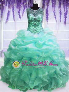 Artistic Sleeveless Beading and Pick Ups Lace Up Vestidos de Quinceanera with Lilac Sweep Train