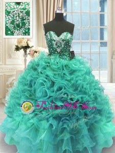 High Class Sleeveless Lace Up Floor Length Beading and Ruffles Sweet 16 Quinceanera Dress