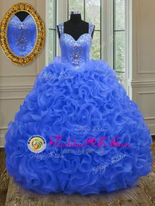 Affordable Straps Sleeveless Beading and Ruffles Zipper Quinceanera Gowns