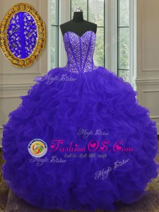 Blue Quinceanera Gowns Military Ball and Sweet 16 and Quinceanera and For with Beading and Ruffles Sweetheart Sleeveless Zipper
