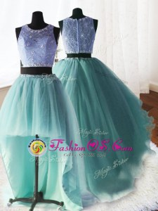 Dynamic Three Piece Scoop Apple Green Ball Gowns Beading and Ruffles 15th Birthday Dress Zipper Organza and Tulle and Lace Sleeveless With Train