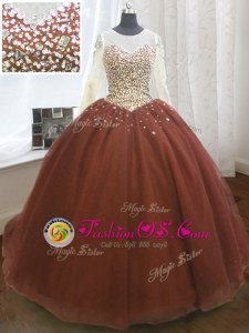 Scoop Organza Long Sleeves Quince Ball Gowns Sweep Train and Beading and Sequins