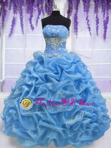 Floor Length Ball Gowns Sleeveless Blue Quinceanera Gown Lace Up