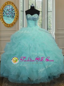 Elegant Aqua Blue Sleeveless Floor Length Beading and Ruffles Lace Up Quinceanera Gowns