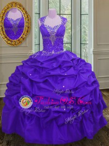 Straps Beading and Pick Ups Sweet 16 Quinceanera Dress Eggplant Purple Lace Up Sleeveless Floor Length