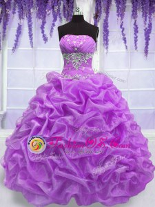 Customized Lilac Ball Gowns Beading Quinceanera Gown Lace Up Organza Sleeveless Floor Length