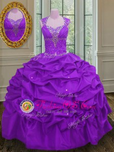 Hot Sale Halter Top Purple Ball Gowns Beading and Sequins Quinceanera Gowns Lace Up Tulle Sleeveless Floor Length