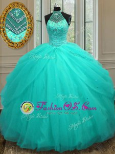 Halter Top Beading Quince Ball Gowns Aqua Blue Lace Up Sleeveless Floor Length