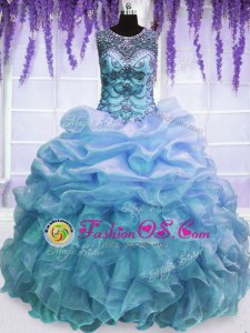 Fine Olive Green Lace Up Strapless Sequins Quinceanera Dress Organza and Taffeta Sleeveless
