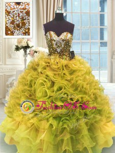 On Sale Gold Organza Lace Up Sweetheart Sleeveless Floor Length Quinceanera Dresses Beading and Ruffles