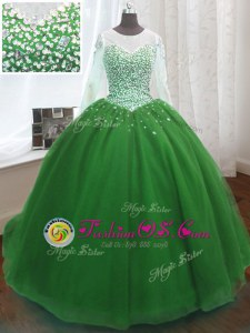 Graceful Scoop Green Organza Lace Up Quince Ball Gowns Long Sleeves Sweep Train Beading and Sequins