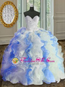 Low Price Floor Length White and Blue Sweet 16 Quinceanera Dress Sweetheart Sleeveless Lace Up
