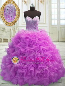 Lilac Ball Gowns Organza Sweetheart Sleeveless Beading and Ruffles Lace Up Quinceanera Dresses Sweep Train