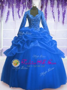 Chic Floor Length Blue Quince Ball Gowns Organza Long Sleeves Sequins and Pick Ups