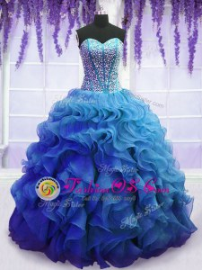 Blue Ball Gowns Sweetheart Sleeveless Organza Floor Length Lace Up Beading and Ruffles Quinceanera Dress