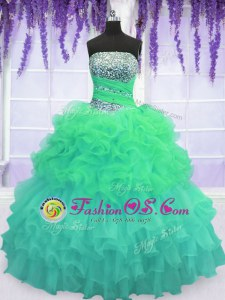 Purple Ball Gowns Organza Sweetheart Sleeveless Beading and Ruffles Lace Up Quinceanera Gown Sweep Train