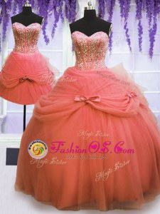 Dramatic Three Piece Sleeveless Floor Length Beading and Bowknot Lace Up 15 Quinceanera Dress with Watermelon Red
