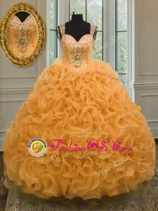 Orange Sleeveless Beading and Ruffles Floor Length Quinceanera Gown