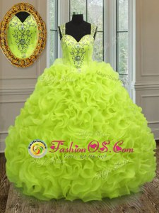 Flare Yellow Green Straps Zipper Beading and Ruffles Quinceanera Dress Sleeveless
