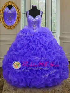 On Sale Lilac Ball Gowns Organza Sweetheart Sleeveless Beading and Ruffles Floor Length Lace Up Vestidos de Quinceanera