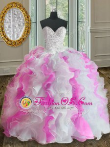 White and Pink Ball Gowns Organza Sweetheart Sleeveless Beading and Ruffles Floor Length Lace Up Quinceanera Gown