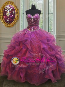 Organza and Sequined Sleeveless Floor Length 15 Quinceanera Dress and Beading and Ruffles