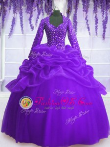 Amazing Purple V-neck Zipper Sequins and Pick Ups 15 Quinceanera Dress Long Sleeves