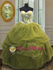 Olive Green Lace Up Quinceanera Gown Sequins and Pick Ups Sleeveless Floor Length