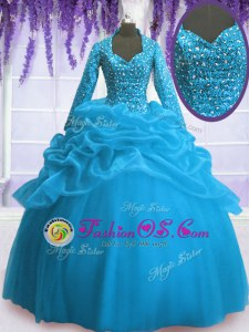 V-neck Long Sleeves Quince Ball Gowns Floor Length Sequins and Pick Ups Baby Blue Organza