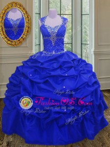 Straps Pick Ups Floor Length Ball Gowns Sleeveless Royal Blue Vestidos de Quinceanera Lace Up