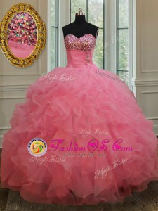 Sleeveless Organza Floor Length Lace Up Ball Gown Prom Dress in Rose Pink for with Beading and Ruffles