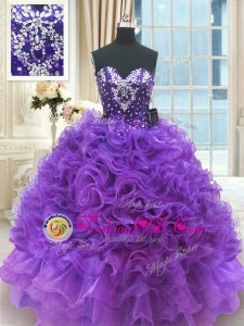 Gorgeous Purple Ball Gowns Sweetheart Sleeveless Organza Floor Length Lace Up Beading and Ruffles Quinceanera Dress