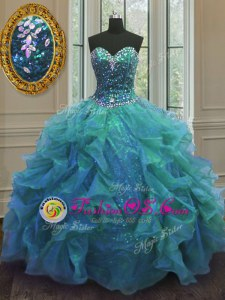 Custom Design Aqua Blue Ball Gowns Beading and Ruffles Quinceanera Gowns Lace Up Organza Sleeveless