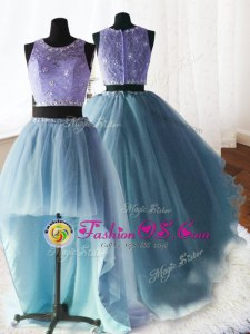 Captivating Three Piece Baby Blue Organza and Tulle and Lace Zipper Scoop Sleeveless With Train Ball Gown Prom Dress Brush Train Beading and Lace and Ruffles
